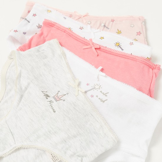 Pack of 5 - Princess Print Briefs with Elasticised Waistband