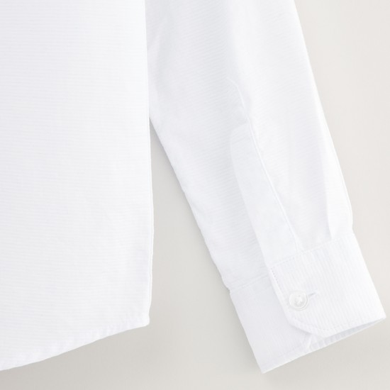 Solid Shirt with Spread Collar and Long Sleeves