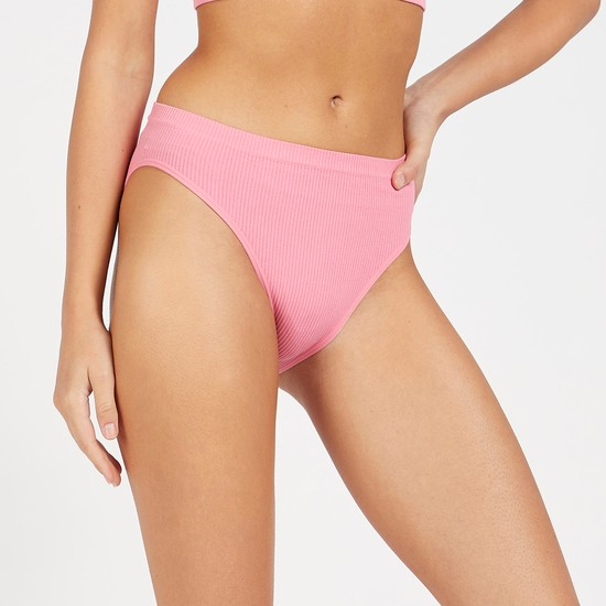 Pack of 2 - Textured Ribbed Hi-Leg Briefs with Elasticised Waistband
