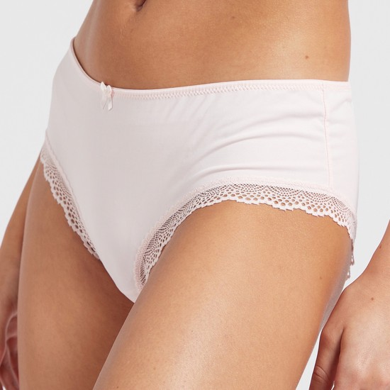 Pack of 2 - Lace Detail Bikini Briefs with Elasticised Waistband