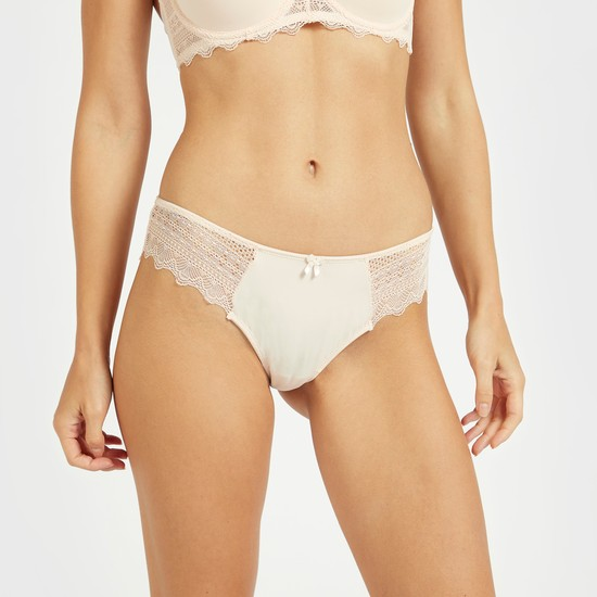 Set of 2 - Solid Lace Detail Bikini Briefs with Elasticised Waistband