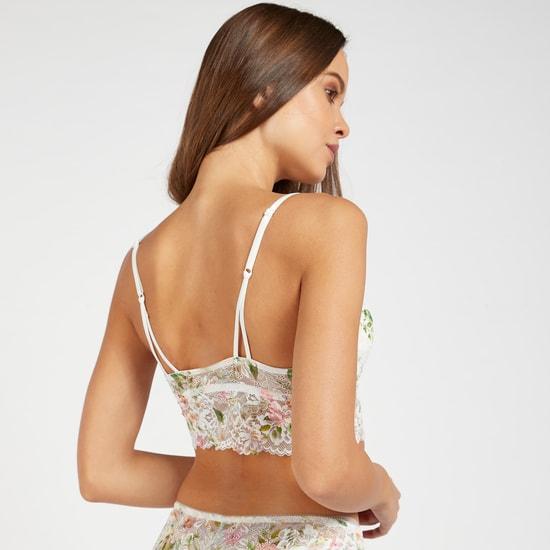 صدرية مبطّنة دانتيل بطبعات أزهار وحمّالات قابلة للتعديل