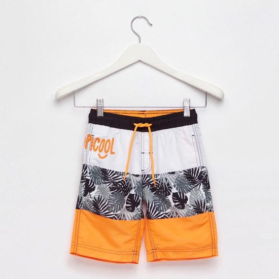 Colourblock Swim Shorts with Pocket Detail and Drawstring Closure