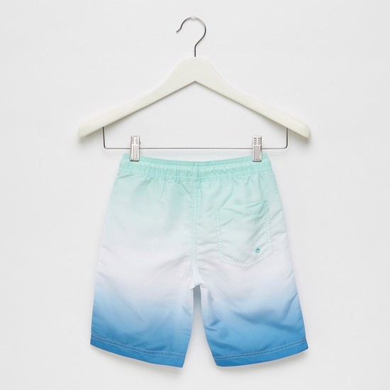 Placement Print Ombre Swim Shorts with Pockets and Drawstring Closure