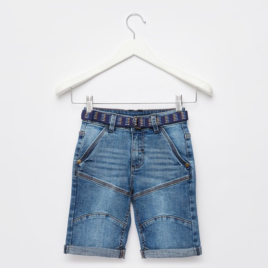 Textured Denim Shorts with Belt and Roll-Up Hem