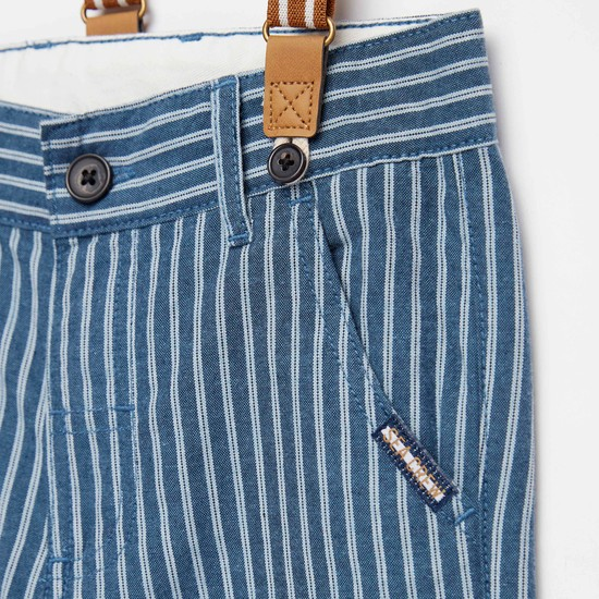 Striped Knee-Length Shorts with Pockets and Suspender