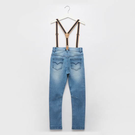 Distressed Jeans with Pockets and Suspenders