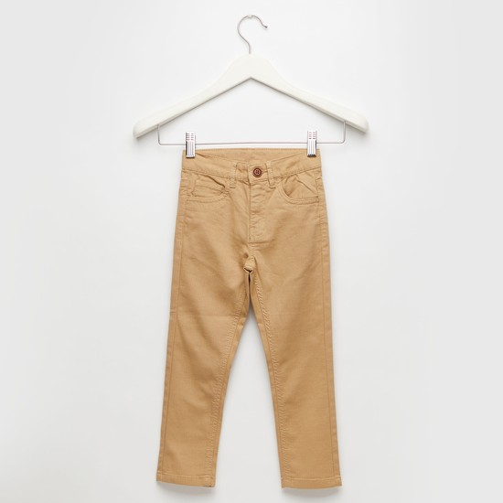 - Solid Full-Length Pants with Pockets and Button Closure