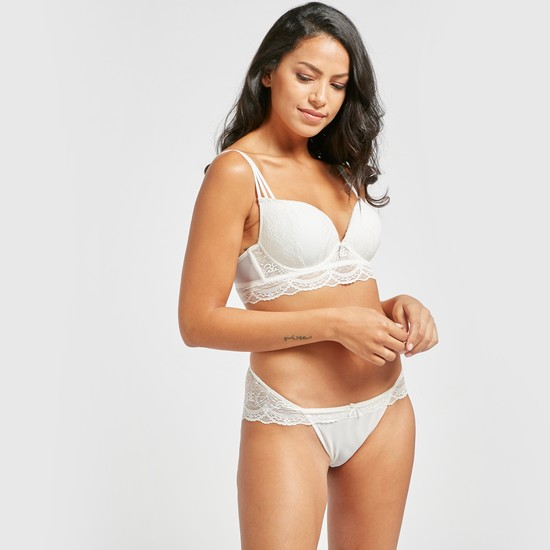 Lace Low-Rise Brazilian Briefs with Elasticised Waistband