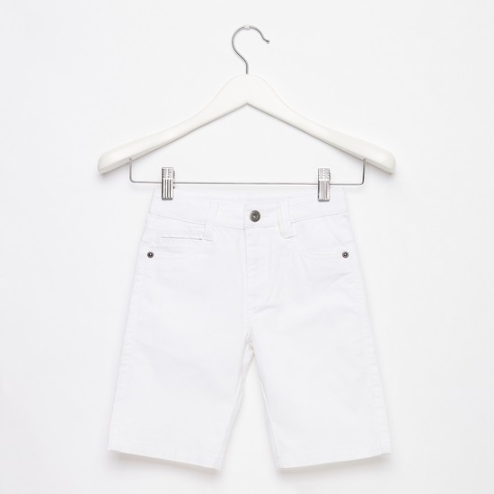 Textured Knee Length Shorts with Pockets and Button Closure