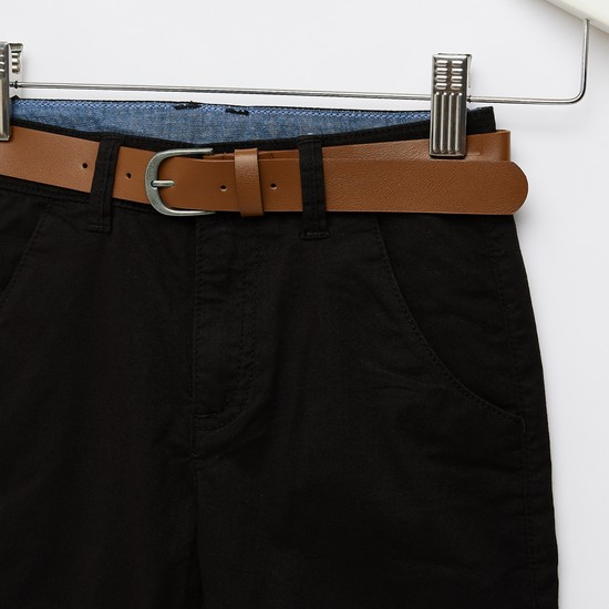 Solid Shorts with Pocket Detail and Belt