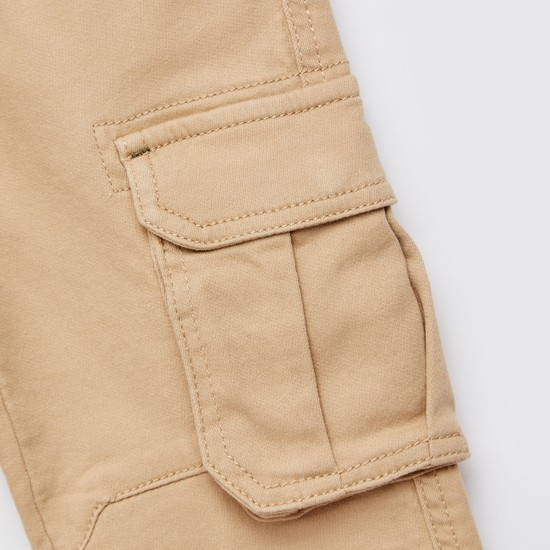 Regular Fit Solid Full Length Cargo Pants with Pockets