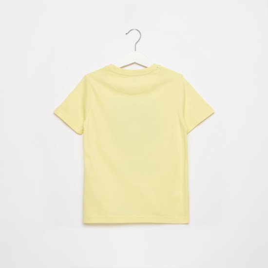 Embossed Print T-shirt with Round Neck and Short Sleeves