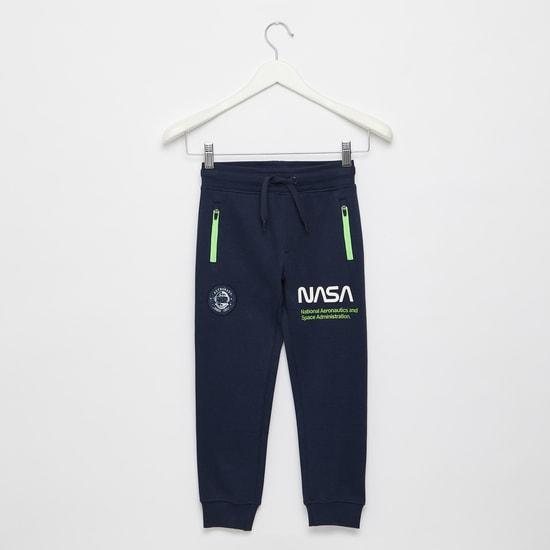 Nasa Print Joggers with Zip Pockets and Drawstring Closure