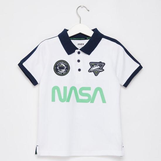 NASA Print Polo T-shirt with Badge Detail and Short Sleeves