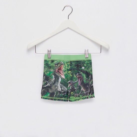 Jurassic Park Graphic Print Swim Trunks with Elasticised Waistband