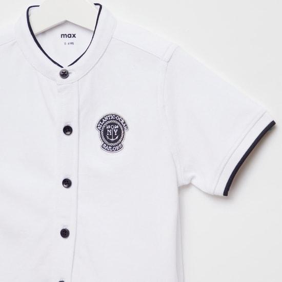 Textured Mandarin Collar Shirt with Short Sleeves