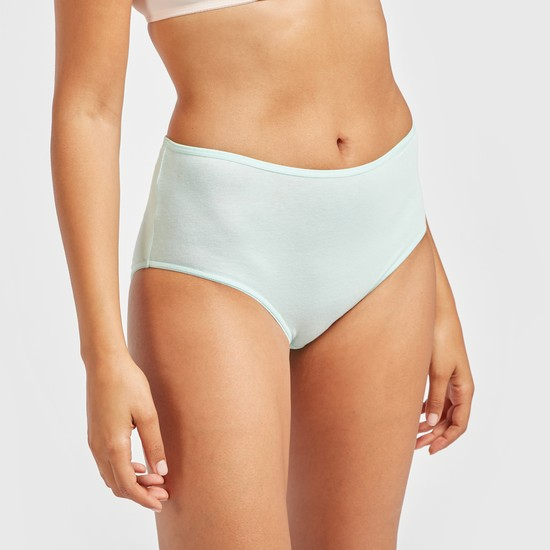 Pack of 5 - Solid Midi Briefs with Elasticised Waistband