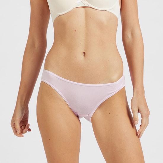 Set of 5 - Solid Bikini Briefs with Elasticated Waist