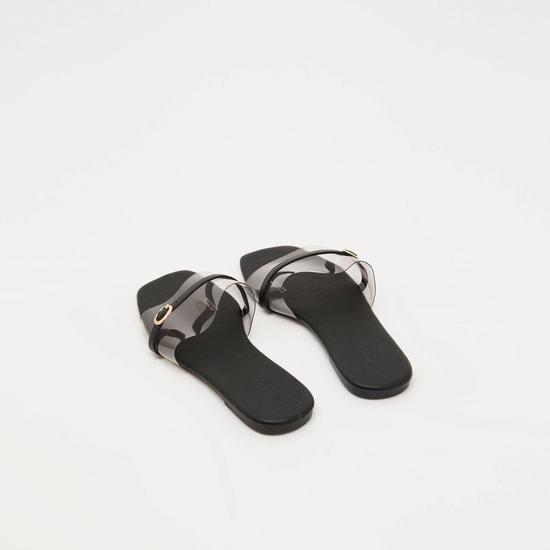 حذاء خفيف شفاف سهل الارتداء بحزام وإبزيم