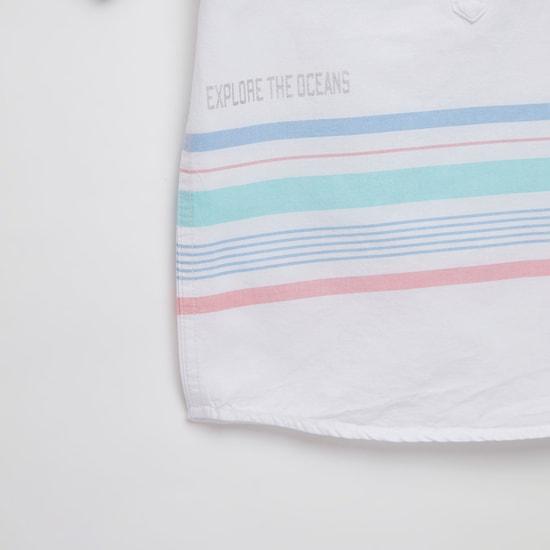 قميص أكسفورد بياقة ماندارين وأكمام قصيرة