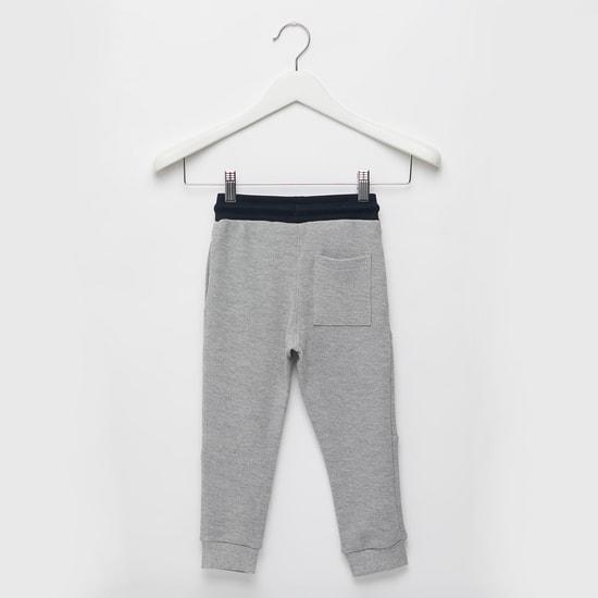 Text Print Knit Jog Pants with Pocket Detail and Drawstring Closure