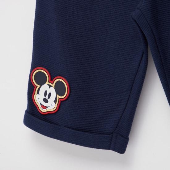 Mickey Mouse Print Shorts with Pockets and Drawstring Closure