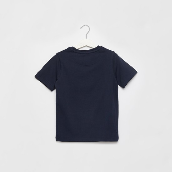 Printed Round Neck T-shirt with Short Sleeves and Tape Detail