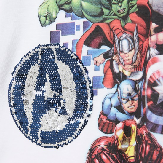 Avengers Graphic Print T-shirt with Reversible Sequin Detail