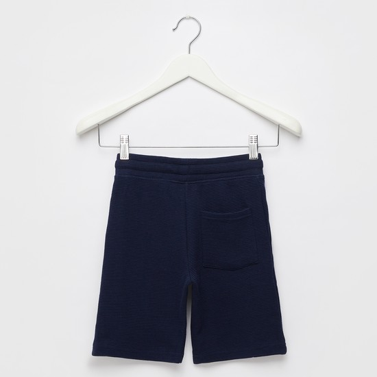 Superman Foil Print Shorts with Pockets and Drawstring Closure