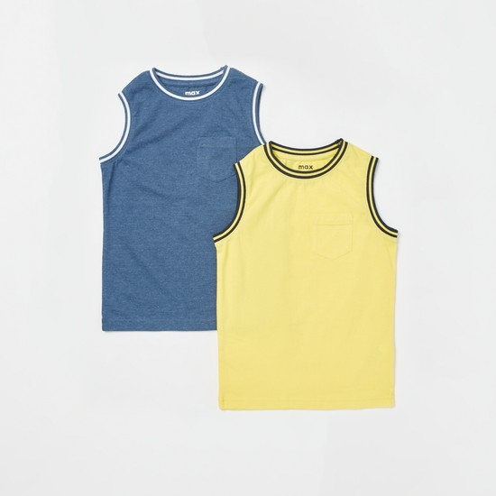 Set of 2 - Solid Sleeveless Vest with Round Neck