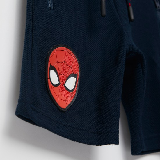 Spider-Man Print Shorts with Pockets and Drawstring