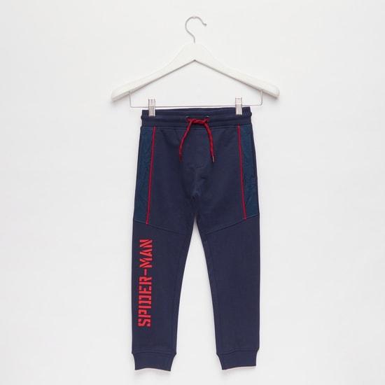 Spider-Man Text Print Jog Pants with Pockets and Drawstring Closure
