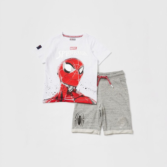 Spider-Man Graphic Print T-shirt and Knit Shorts Set