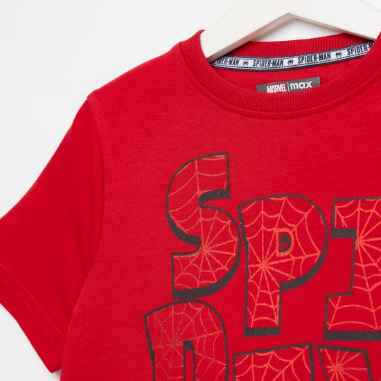 Spider-Man Graphic Print T-shirt with Round Neck and Short Sleeves