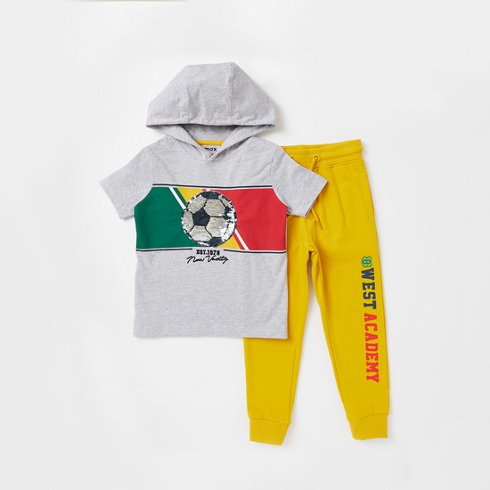 Sequin Detail Short Sleeves T-shirt with Text Print Jog Pants Set