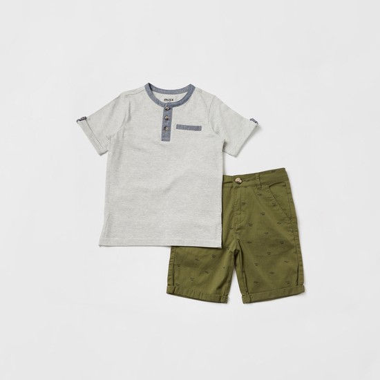 Striped Henley Neck T-shirt and All-Over Print Shorts Set