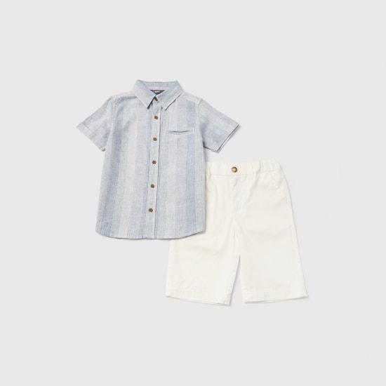 طقم قميص مقلم بياقة عادية وشورت سادة