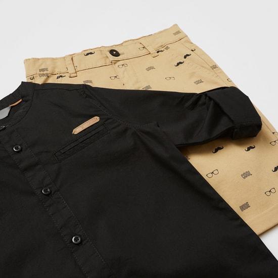 طقم قميص بياقة ماندرين سادة مع شورت بطبعات بالكامل