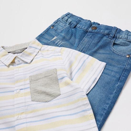 Striped Short Sleeves Shirt and Denim Shorts Set