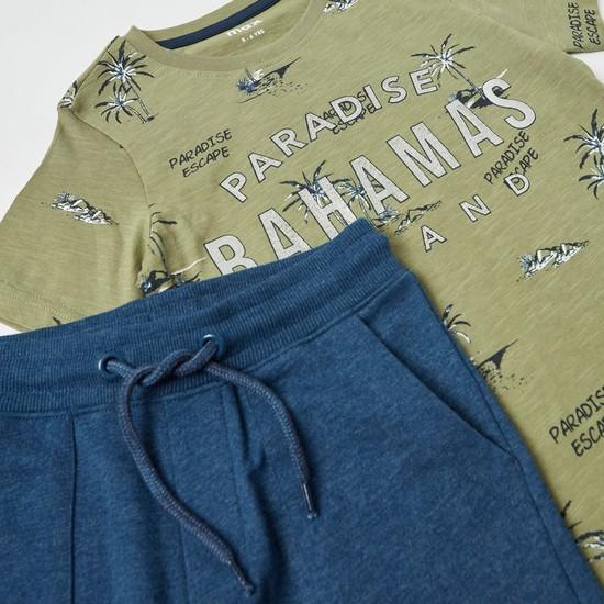 All-Over Print Round Neck T-shirt and Knit Shorts Set