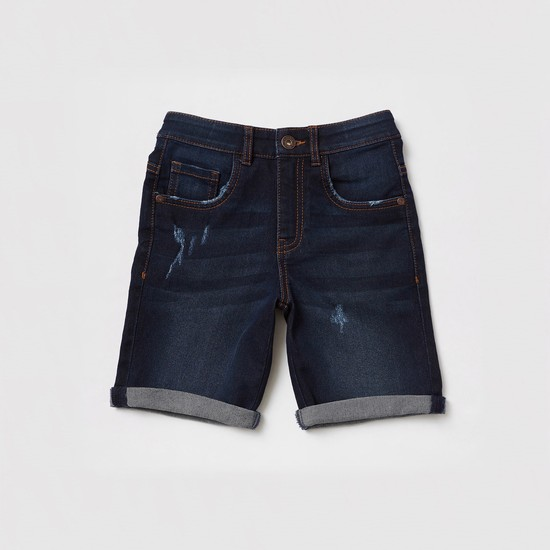 All-Over Print Short Sleeves Shirt and Denim Shorts Set