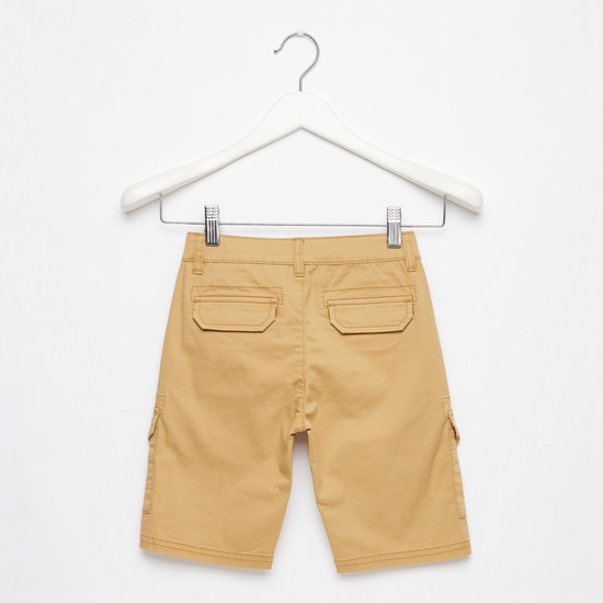 Solid Knee-Length Cargo Shorts with Button Closure and Pockets