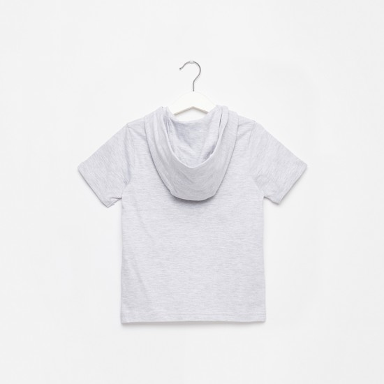 Embossed Print T-shirt with Short Sleeves and Hood