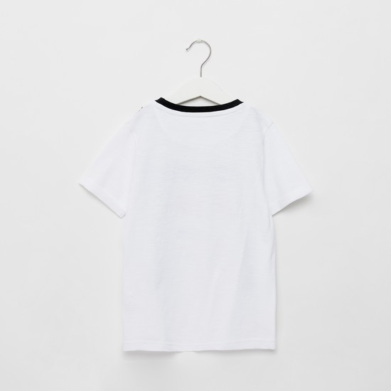 Printed T-shirt with Suspender Applique and Short Sleeves