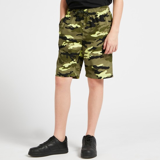 - All-Over Camouflage Print Shorts with Pockets and Drawstring Closure