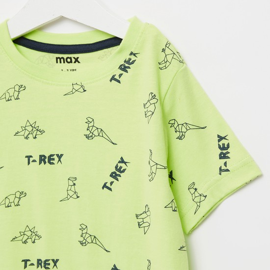 All-Over Dino Print T-shirt with Round Neck and Short Sleeves