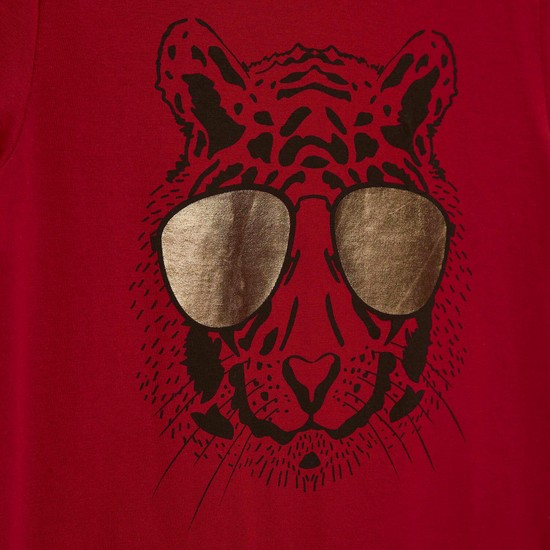 Tiger Foil Print T-shirt with Round Neck and Short Sleeves