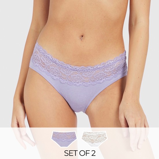 Set of 2 - Lace Textured Bikini Briefs