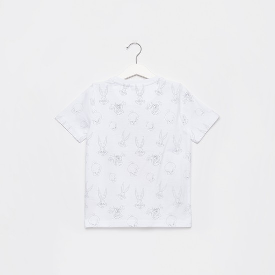 Looney Tunes Print Round Neck T-shirt with Short Sleeves